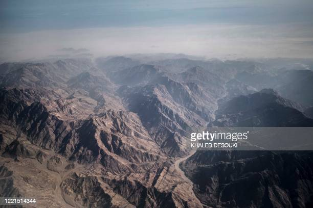 An aerial view shows the Sinai mountains of the Egyptian Red Sea resort of Sharm el-Sheikh on June 20, 2020.