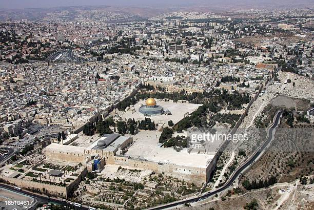 An aerial view shows the Temple Mount the most holy site to Jews and the AlAqsa mosque compound with the Dome of the Rock the third most holiest site...