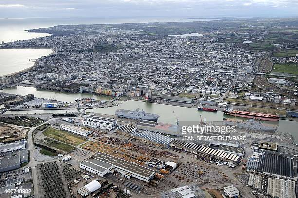 An aerial view shows the Vladivostok and Sevastopol warships Mistralclass LHD amphibious vessels ordered by Russia from STX France in SaintNazaire...
