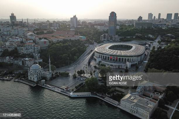An aerial view shows the Vodafone Park stadium were Besiktas football team used to play in Istanbul, on May 19 during a four-day curfew aimed at...