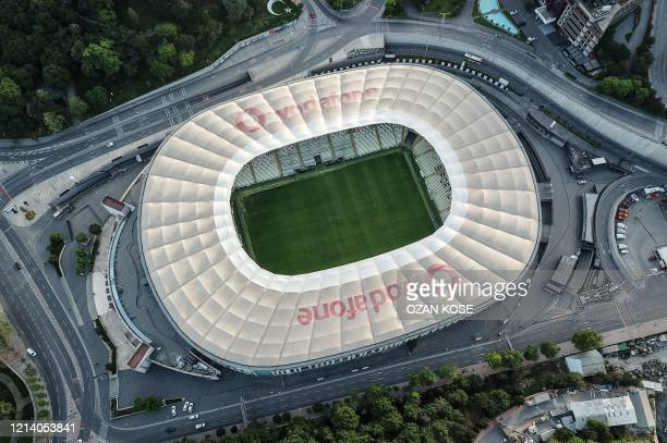 An aerial view shows the Vodafone Park stadium where the Besiktas football team used to play in Istanbul, on May 19 during a four-day curfew aimed at...