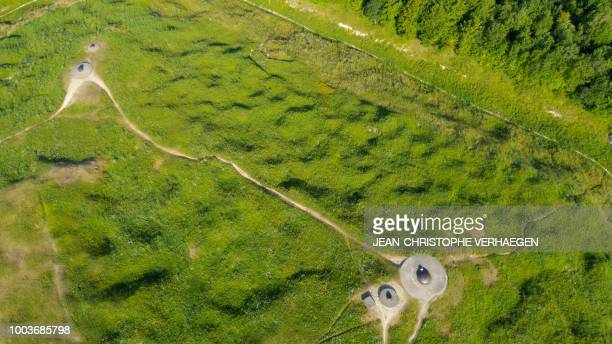 An aerial view shows the World War One war site of Fort de Douaumont in Douaumont eastern France on July 16 2018 Fort Douaumont was the largest and...