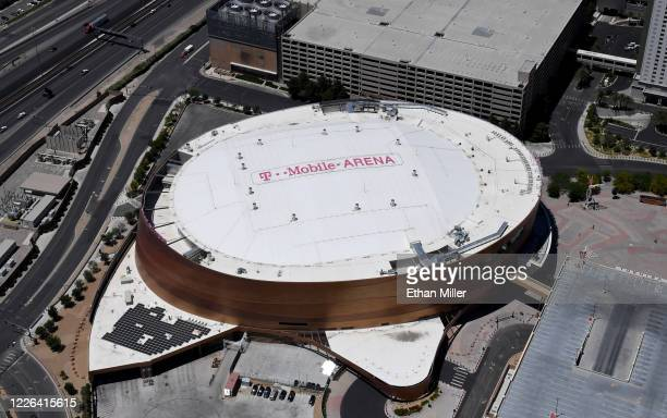 An aerial view shows TMobile Arena home of the NHL's Vegas Golden Knights which has been closed since March 17 in response to the coronavirus...