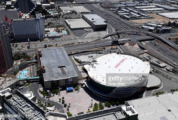 An aerial view shows T-Mobile Arena, home of the NHL's Vegas Golden Knights, which has been closed since March 17 in response to the coronavirus...