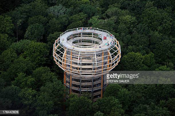 An aerial view shows tourists on the eyrie-shaped lookout tower amidst the 1250m long treetop path near Prora, north-eastern Germany on August 12,...