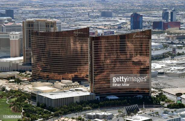 An aerial view shows Wynn Las Vegas and Encore Las Vegas, both of which have been closed since March 17 in response to the coronavirus pandemic on...