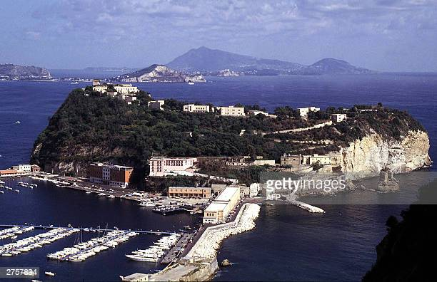 An aerial view taken 18 November 2003 of the Nisida island in the Naples' gulf, which could host the commanding headquarters of the 2007 America's...