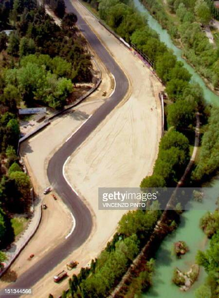An aerial view taken 19 April 1994 of the Tamburello curve of the Imola racing track in San Marino where Brazilian F1 driver Ayrton Senna crashed and...