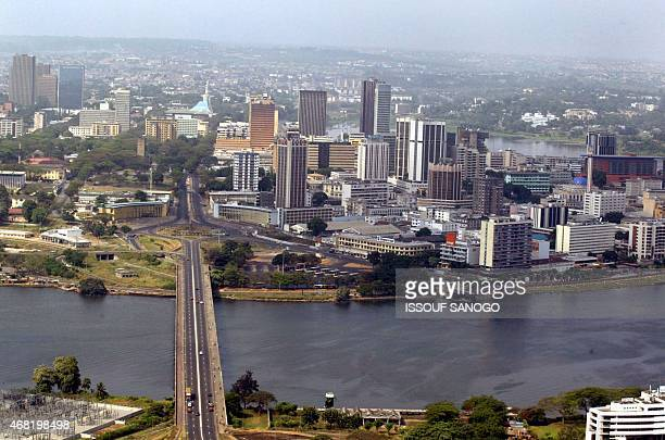 An aerial view taken 27 January 2003 shows the Port Boue district in Abidjan where antiFrench demonstrations have been taking place in the last 3...