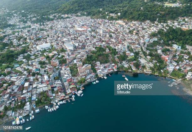 An aerial view taken by a drone of San Pedro la Laguna on 12 August 2018 in Guatemala Central America San Pedro de la Laguna is a Guatemalan town on...