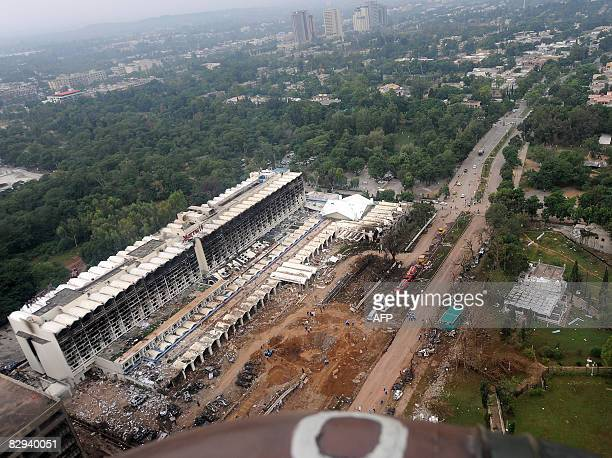An aerial view taken from an army helicopter shows the devastated Marriott Hotel two days after a suicide truck bombing in Islamabad on September 22...
