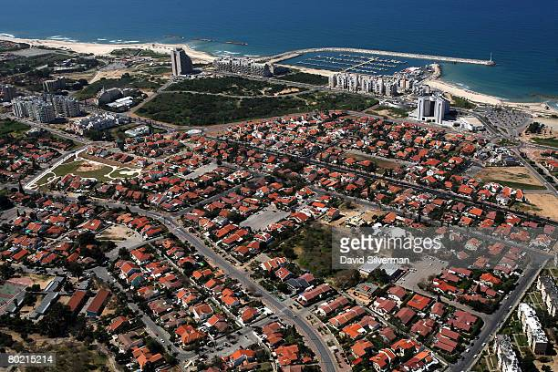 An aerial view taken March 12, 2008 shows the marina and residential district of the southern Israeli city of Ashkelon. In recent weeks, over a dozen...