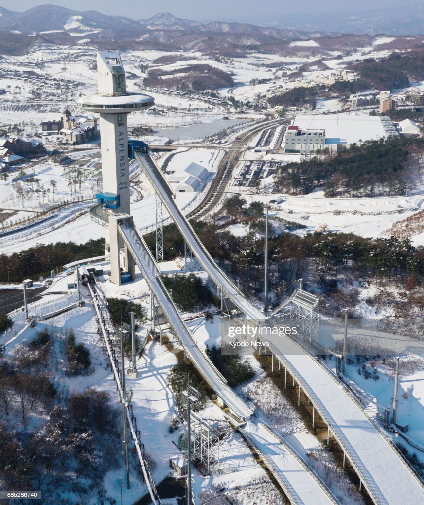 An aerial view taken Nov. 27, 2017, of the Alpensia Ski Jumping Center for the 2018 Pyeongchang Winter Olympics in South Korea. ==Kyodo