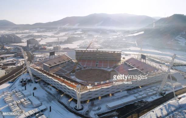 An aerial view taken Nov 27 of the main Olympic stadium for the 2018 Pyeongchang Winter Olympics in South Korea ==Kyodo