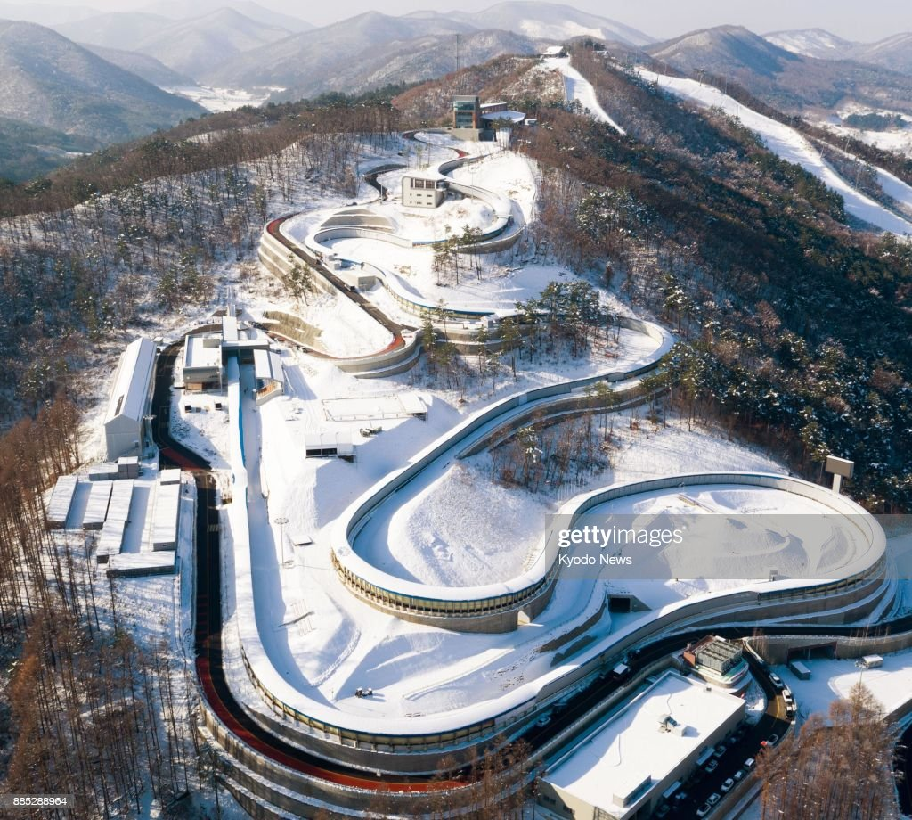 An aerial view taken Nov. 27, 2017, of the Olympic Sliding Center for the 2018 Pyeongchang Winter Games in South Korea. ==Kyodo