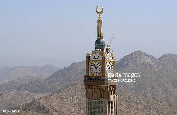 An aerial view taken November 7 2011 shows the Abraj AlBait Towers also known as the Mecca Royal Hotel Clock Tower in the holy city of Mecca during...