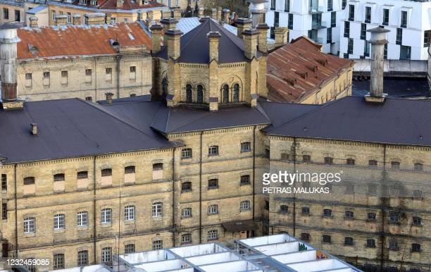 An aerial view taken on April 21, 2021 shows the former Lukiskes prison in Vilnius. - Lithuania is searching for investors to redevelop a historic...