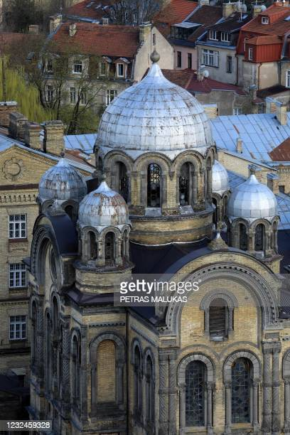 An aerial view taken on April 21, 2021 shows the Orthodox Church that is part of the former Lukiskes prison in Vilnius. - Lithuania is searching for...