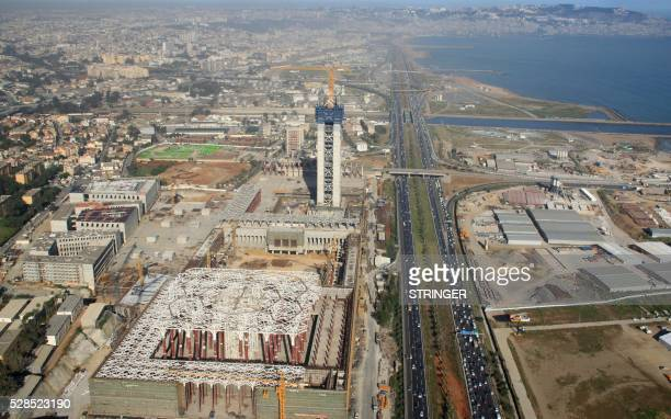 An aerial view taken on April 26 from a police helicopter above Algiers shows the construction site of the third largest mosque in the area and the...