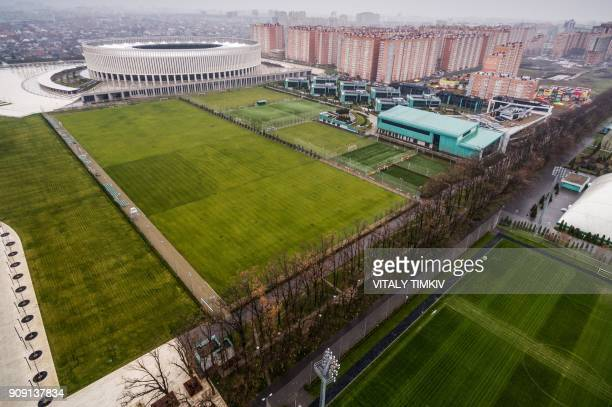 An aerial view taken on December 15, 2017 shows FC Krasnodar Academy which was chosen to be Spain's national football team's training camp for the...