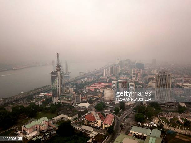 An aerial view taken on February 12 2019 shows the historic centre of Lagos the economic capital of Nigeria Nigerians are scheduled to cast their...