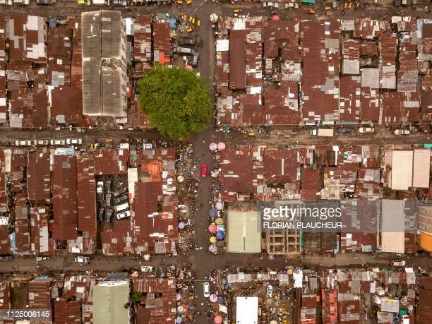 TOPSHOT An aerial view taken on February 12 2019 shows the Obalande area in Ikoyi island in Lagos the economic capital of Nigeria Nigerians are...