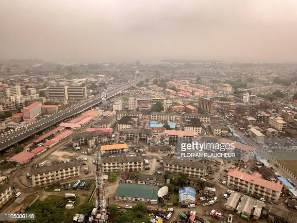 An aerial view taken on February 12 2019 shows the Obalande area in Ikoyi island in Lagos economic capital of Nigeria Nigerians are scheduled to cast...
