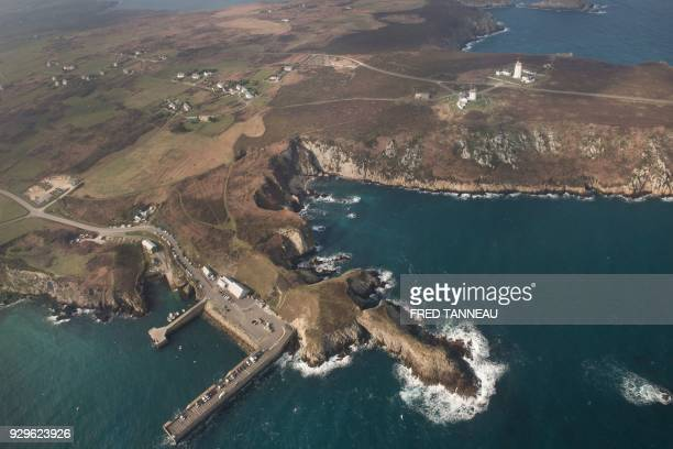 An aerial view taken on February 24 2018 shows the Ouessant island Brittany western France On March 16 1978 the Liberian oil tanker Amoco Cadiz ran...