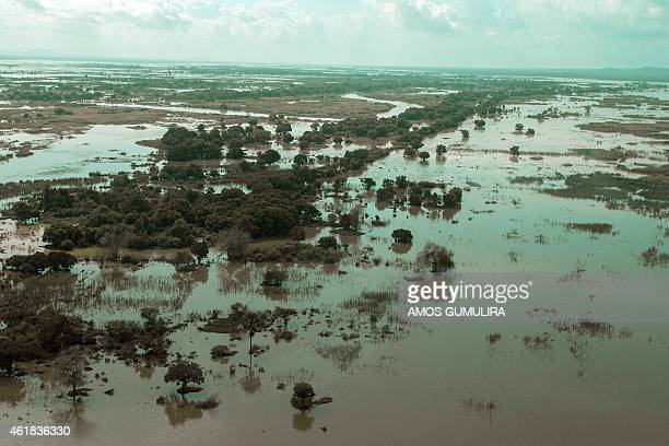 An aerial view taken on January 20 2015 shows a flooded area is seen at Makhanga in Malawi's most southern district of Nsanje A total of 176 people...