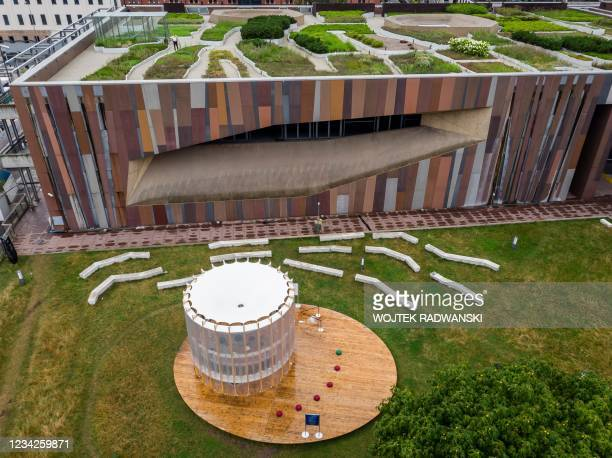 An aerial view taken on July 26, 2021 shows an AirBubble, an innovative playground providing clean air thanks to algae that absorb pollutants and...