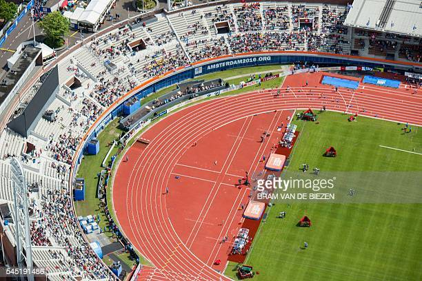 An aerial view taken on July 6 2016 shows the Olympic stadium where the European Athletics Championships take place in Amsterdam / AFP / ANP / Bram...