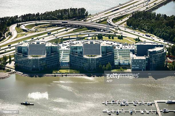 An aerial view taken on June 14, 2012 shows the headquarters of Finland's Nokia, one of the world's biggest mobile phone makers, in Espoo. Finnish...