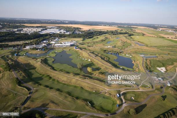 TOPSHOT An aerial view taken on June 27 shows the Albatros course at Le Golf National an 18hole golf course in SaintQuentinenYvelines west of Paris...
