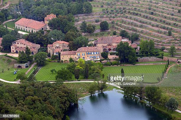 An aerial view taken on May 31 2008 in Le Val southeastern France shows the Chateau Miraval a vineyard estate owned by US businessman Tom Bove US...