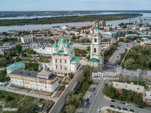 An aerial view taken on May 5, 2021 shows the city centre of Astrakhan.