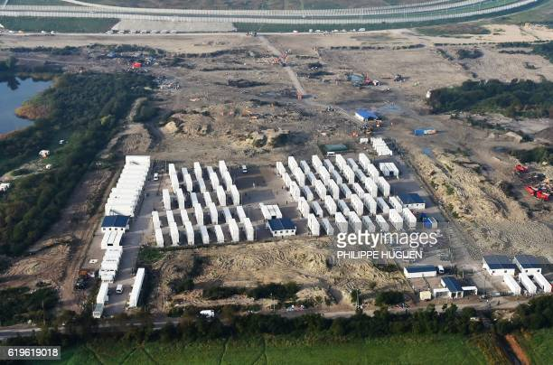 TOPSHOT An aerial view taken on November 1 2016 shows the 'jungle' camp in Calais northern France after its demolition and the evacuation of...