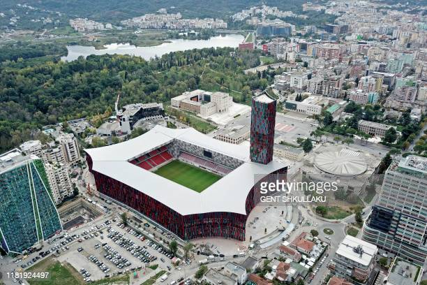 """An aerial view taken on November 2 shows the new National Football Stadium of Tirana """"Air Albania"""", which will host its first inaugural match on..."""