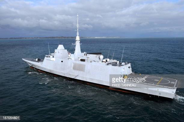 An aerial view taken on November 27 2012 shows the new ItaloFrench FREMM multipurpose frigate Aquitaine off the coast of Lorient western France...