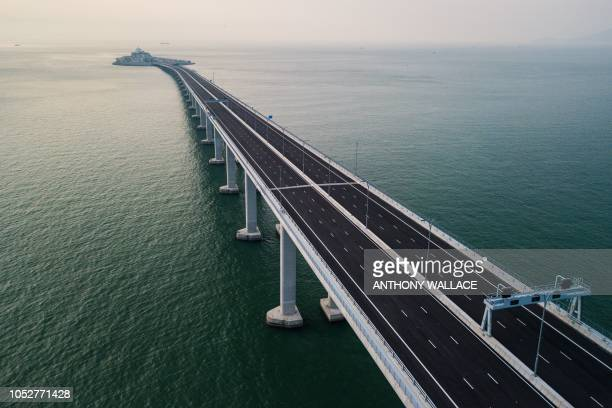 An aerial view taken on October 22 shows a section of the Hong KongZhuhaiMacau Bridge in Hong Kong The world's longest seabridge connecting Hong Kong...