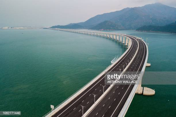 TOPSHOT An aerial view taken on October 22 shows a section of the Hong KongZhuhaiMacau Bridge in Hong Kong The world's longest seabridge connecting...