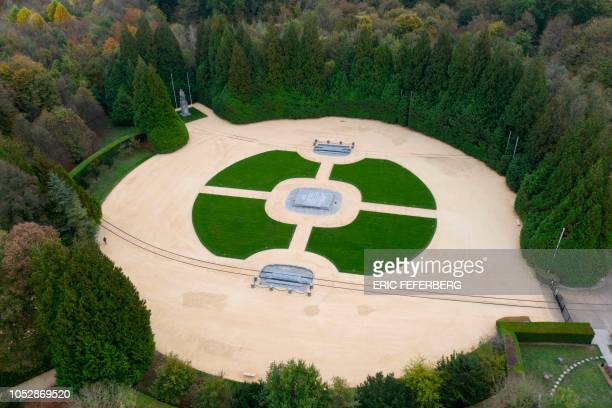 TOPSHOT An aerial view taken on October 22 shows the Glade of the Armistice clearing where the Compiegne Wagon stood and in which the November 11...