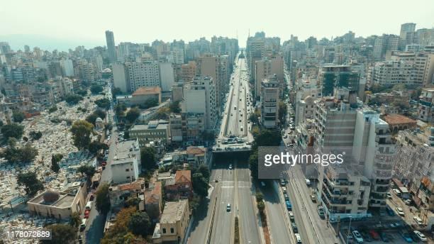 An aerial view taken on October 25 shows Beirut's Salim Slem neighbourhood