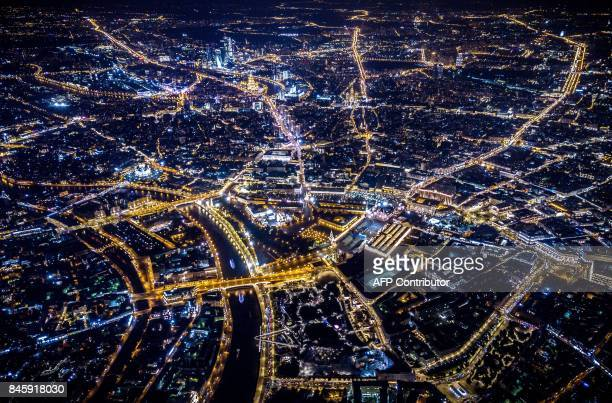 An aerial view taken with a drone on late September 11 2017 shows the Moskva River and the central urban district of Moscow / AFP PHOTO / Dmitry...