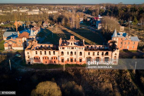 An aerial view taken with a drone on November 8 2017 shows the stables at the neglected Khrapovitsky Estate in Muromtsevo Vladimir region / AFP PHOTO...