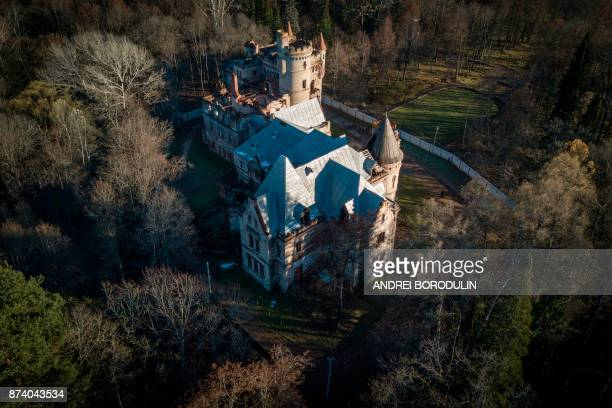 An aerial view taken with a drone on November 8 2017 shows the neglected Khrapovitsky Estate in Muromtsevo Vladimir region / AFP PHOTO / Andrei...
