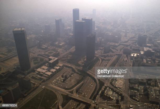 An aerial view that depicts smog in downtown in 1975 in Los Angeles California