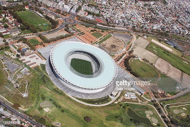 An aerial view view of The Cape Town Stadium on September 16 2011 in Cape Town The stadium is connected to the waterfront by a new road connection...