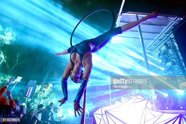 An aerialist performs on stage at the Okeechobee Music Arts Festival day 4 on March 5 2016 in Okeechobee Florida