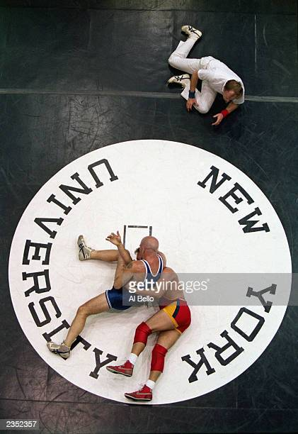 An aeriel shot of a wrestling competition during the Gay Games at New York University on June 20 1994 in New York City New York