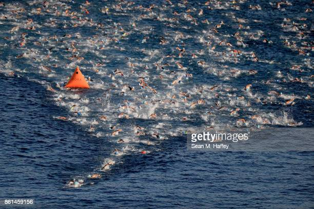 An aeriel view as swimmers compete during the IRONMAN World Championship on October 14, 2017 in Kailua Kona, Hawaii.